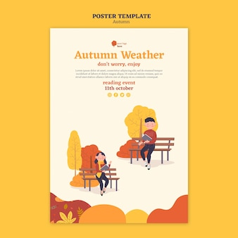 Affiche voor herfstactiviteiten buitenshuis