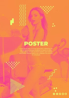 Affichemalplaatje in de stijl van memphis met de zomerconcept