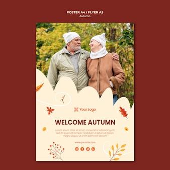 Affichemalplaatje voor het verwelkomen van het herfstseizoen