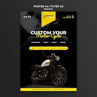 Affichemalplaatje voor motorfietsreparatiewerkplaats
