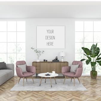 Affichemodel, woonkamer met horizontale lijst