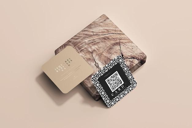 Afgeronde hoek vierkante visitekaartjes mockup