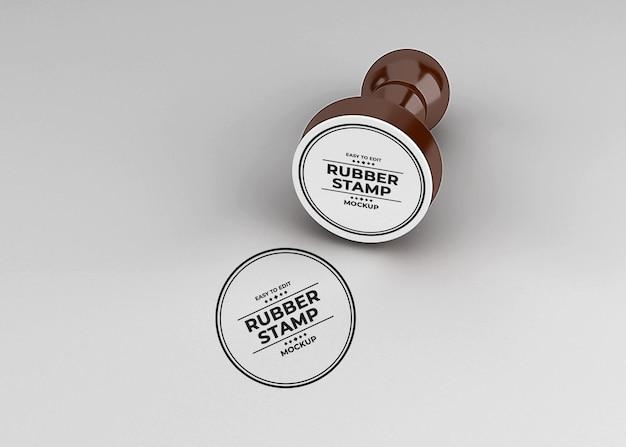 Afgeronde rubberen stempel logo mockup-ontwerp
