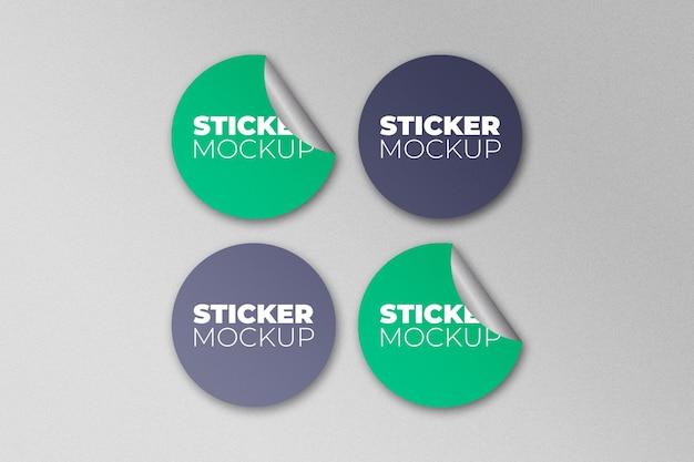 Afgeronde stickers mockup