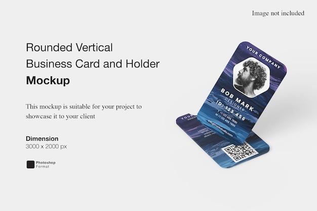 Afgeronde verticale visitekaartje en houder mockup ontwerpweergave