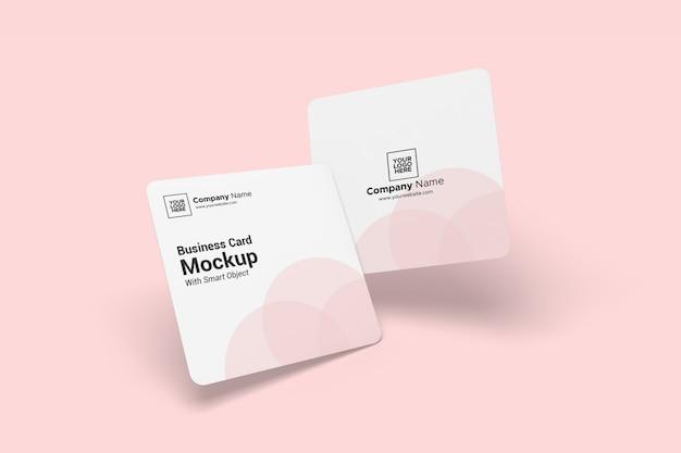Afgeronde vierkante visitekaartje mockup
