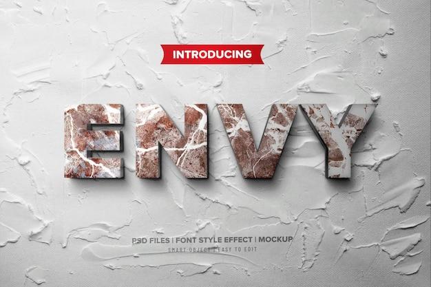 Afgunst premium 3d-lettertype-effect op betonnen muur