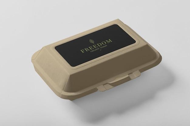 Afhaalmaaltijden container ronde doos mockup Premium Psd