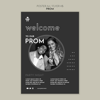 Afstuderen prom poster sjabloon
