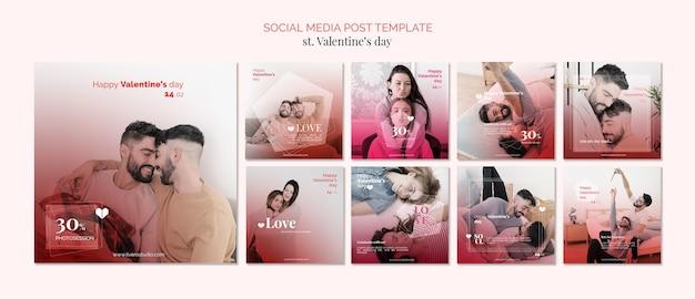 Aftelkalender voor valentijnsdag homoseksualiteit sociale media post sjabloon