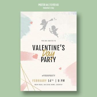Aftelkalender voor valentijnsdag partij poster met engelen