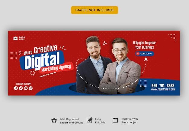 Agencia de marketing digital y plantilla de portada corporativa de facebook