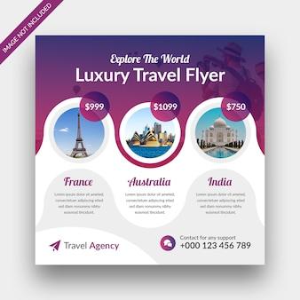 Agencia de viajes vacaciones vacaciones post banner y diseño de plantilla de volante cuadrado