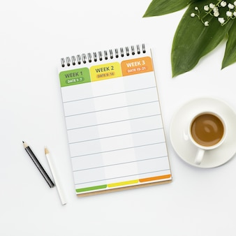 Agenda met wekelijkse planner concept