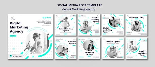 Agenzia di marketing digitale post sui social media