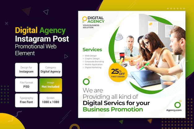 Agenzia digitale instagram post banner template