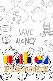Ahorro de dominio de finanzas de dinero con gráficos