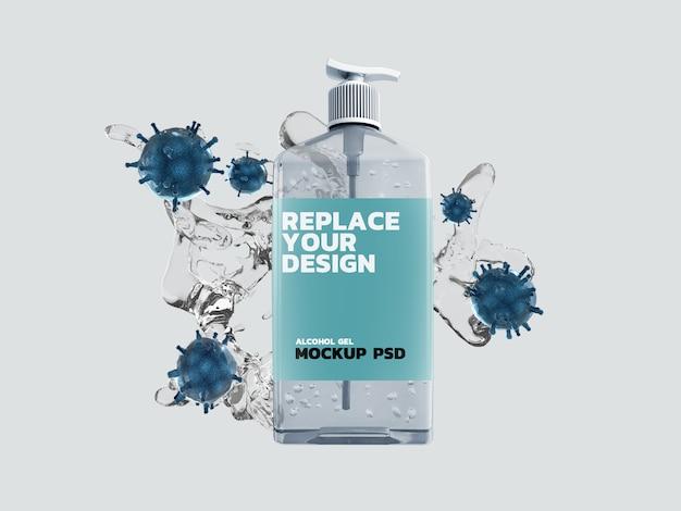 Alcohol gel corona virus mockup diseño de renderizado 3d