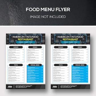 Aletta di menu dell'alimento
