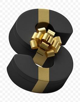 Alfabet letter s cadeau verpakt in donker zwart papier met luxe gouden strik geïsoleerd psd-bestand