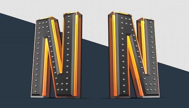 Alfabeto 3d con decoración de pin y efecto de luz de neón