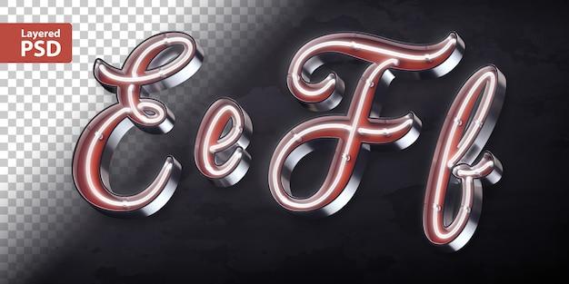 Alfabeto 3d con forma de neón brillante