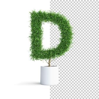 Alfabeto de árbol verde letra d