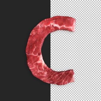 Alfabeto de carne sobre fondo negro, letra c