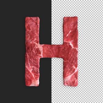 Alfabeto de carne sobre fondo negro, letra h