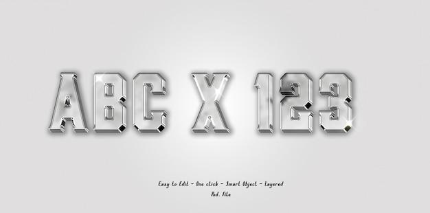 Alfabeto de fuente 3d maqueta y número con efecto de color plateado