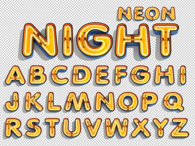 Alfabeto de luz de neón