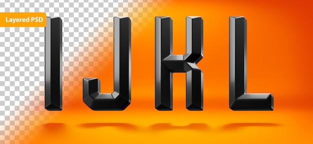 Alfabeto nero lucido con forma bordata