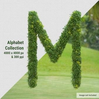 Alfabeto vertical de árbol de jardín y hojas verdes, letra m
