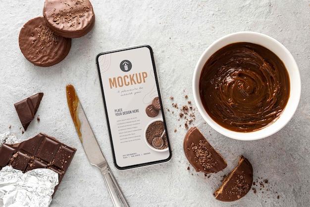 Alfajor-koekjes met telefoonmodelontwerp