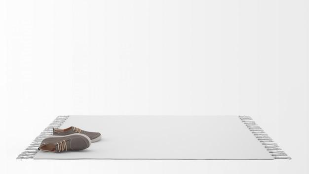Alfombra blanca realista con un par de zapatos