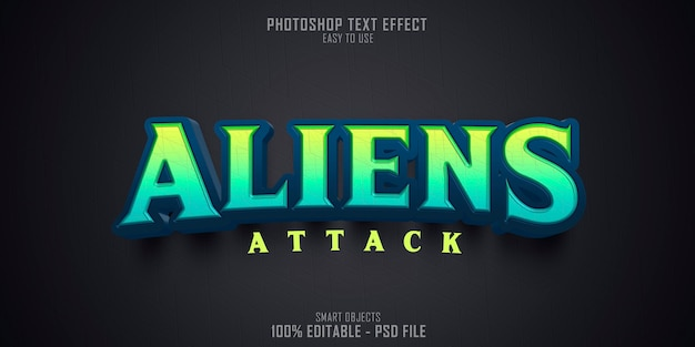 Aliens 3d-tekststijl effect sjabloon