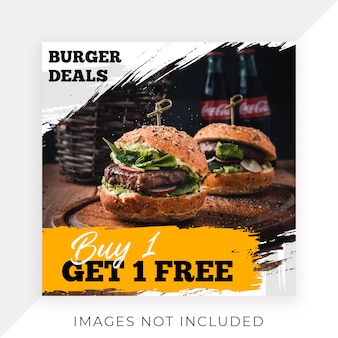 Alimento instagram post template banner restaurant