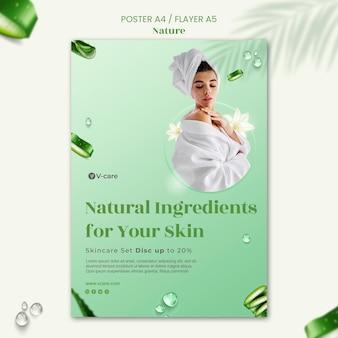 Aloë vera natuurlijke cosmetica poster en flyer sjabloonontwerp