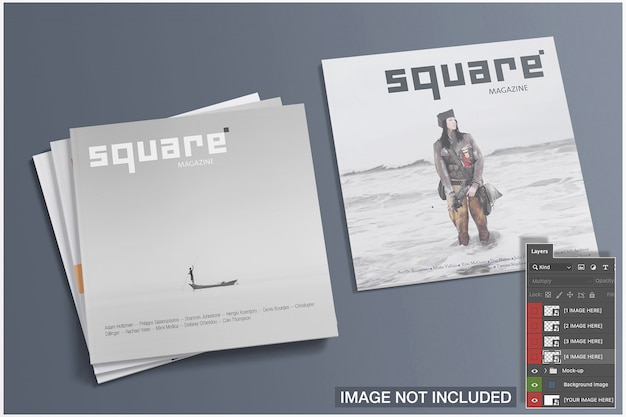 Alta vista de maquetas de portadas de cuatro revistas cuadradas