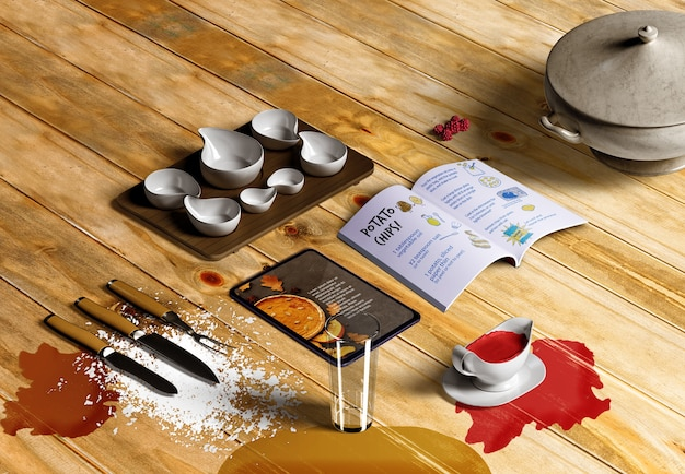 Alto ángulo del concepto de acción de gracias en la mesa de madera