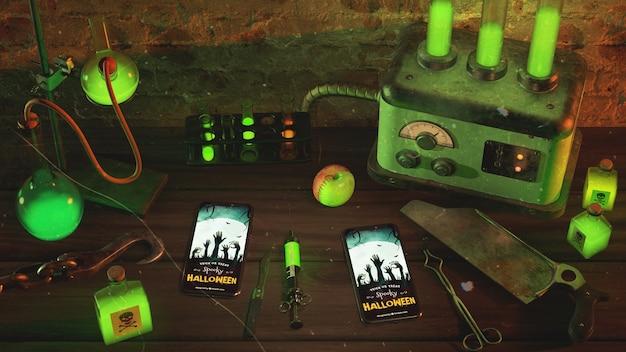 Alto ángulo de luz de neón verde con teléfonos inteligentes en la mesa de madera