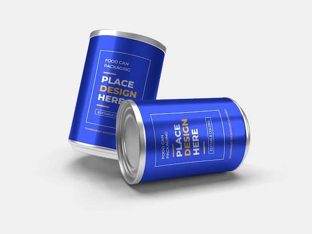 Aluminium voedselblik verpakking mockup