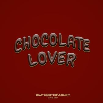 Amante del chocolate efecto de estilo de texto