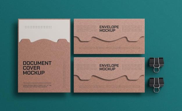 Ambachtelijke papieren envelop met a4-documentmodel