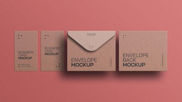 Ambachtelijke papieren envelop met mockup voor visitekaartjes