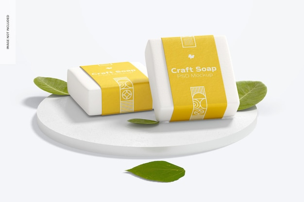 Ambachtelijke zeep met labelmodel met ronde stenen standaard