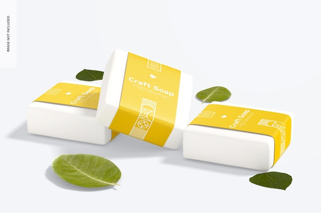 Ambachtelijke zeep met labelmodel, perspectiefweergave