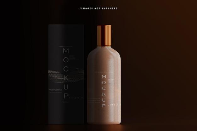 Amber glazen cosmetische fles en doos mockup