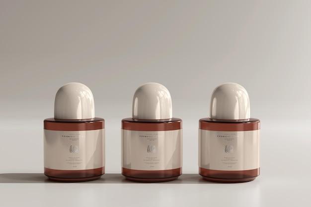 Amber glazen cosmetische fles mockup