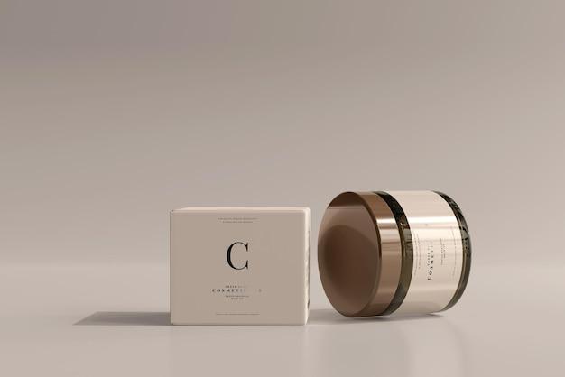 Amber glazen cosmetische pot en doosmodel